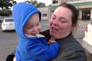 shley Joyner plays with her son Foxx Coker